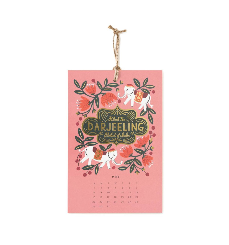 Wandkalender 2016 von Rifle Paper Co, Coffee & Tea, Darjeeling